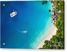 Amazing View To Yacht In Bay With Beach Acrylic Print