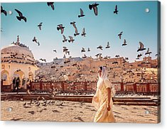 Acrylic Print featuring the photograph Amber Fortress by Marji Lang