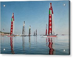 America Cup Boat Reflections Acrylic Print