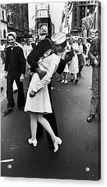 American Sailor Kisses White-uniformed Acrylic Print by Alfred Eisenstaedt