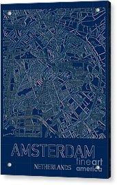 Amsterdam Blueprint City Map Acrylic Print