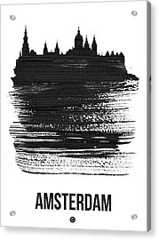 Amsterdam Skyline Brush Stroke Black Acrylic Print