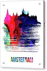 Amsterdam Skyline Brush Stroke Watercolor   Acrylic Print