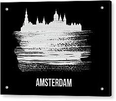Amsterdam Skyline Brush Stroke White Acrylic Print