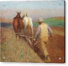 An Autumn Morning, Ploughing  Acrylic Print