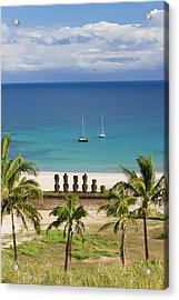 Anakena Beach, Yachts Moored In Front Acrylic Print by Gavin Hellier / Robertharding