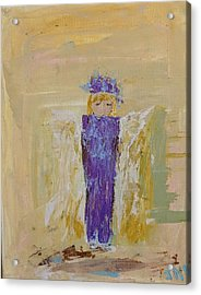 Angel Girl With A Unicorn Acrylic Print
