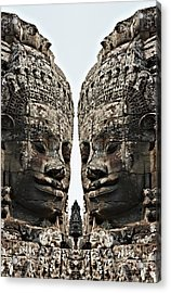Angkor Wat, Giant Faces At Bayon Temple Acrylic Print