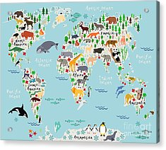 Animal Map Of The World For Children Acrylic Print