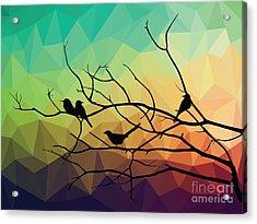 Animal Of Wildlife  Bird On Tree Branch Acrylic Print