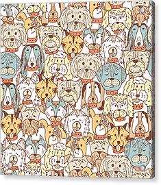 Animals. Dogs Vector Seamless Pattern Acrylic Print by Allnikart
