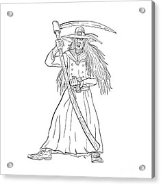 Ankou Graveyard Watcher With Scythe Drawing Black And White Acrylic Print