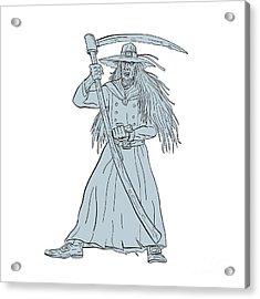 Ankou Henchman Of Death With Scythe Drawing Acrylic Print