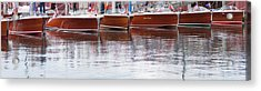 Antique Classic Wooden Boats In A Row Panorama 81112p Acrylic Print
