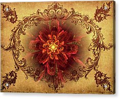 Antique Foral Filigree In Crimson And Gold Acrylic Print