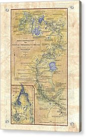 Antique Map Mississippi River Map Hand Painted Zebulon Pike Acrylic Print