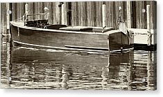 Antique Wooden Boat By Dock Sepia Tone 1302tn Acrylic Print