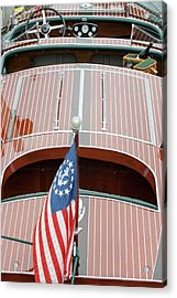Antique Wooden Boat With Flag 1303 Acrylic Print