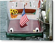 Antique Wooden Boat With Flag And Flowers 1304 Acrylic Print