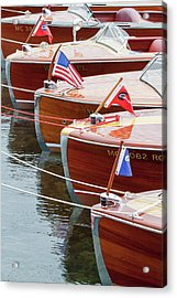Antique Wooden Boats In A Row Portrait 1301 Acrylic Print