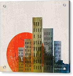 Apocalyptic Retro Poster. Sunset Acrylic Print