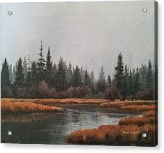 Acrylic Print featuring the painting Approaching Flurries by Peter Mathios