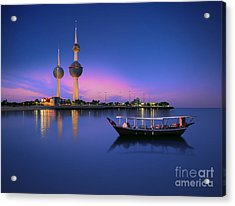Arabian Passenger Boat During Blue Hour Acrylic Print