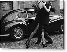 Argentina, Couple Dancing Tango By Car Acrylic Print by Christopher Pillitz