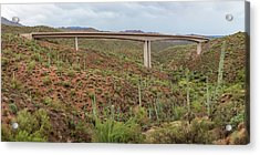 Acrylic Print featuring the photograph Arizona Highway Bridge Panoramic View by James BO Insogna