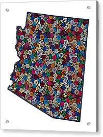 Arizona Map - 1 Acrylic Print