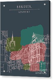 Artistic Illustration Of Old Center In Acrylic Print
