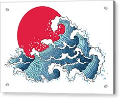 Asian Illustration Of Ocean Waves And Acrylic Print