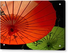 Asian Parasols Acrylic Print by Imagesbytrista
