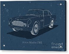Aston Martin Db5 - Front View - Stained Blueprint Acrylic Print