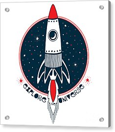 Astronaut Rocket In Outer Space , Kid Acrylic Print