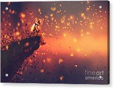 Astronaut Sitting On Cliffs Edge And Acrylic Print