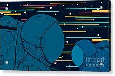 Astronauts In Space. Vector Acrylic Print