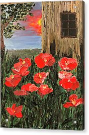 At Sunset By The Old Barn Acrylic Print