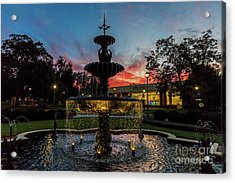 Augusta University Fountain Sunset Ga Acrylic Print