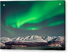 Aurora Above Fjords In Norway Acrylic Print