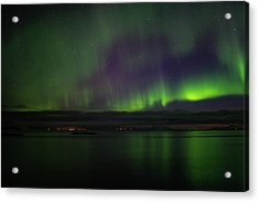 Aurora Borealis Reflecting At The Sea Surface Acrylic Print