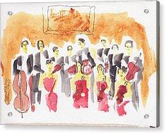 Austria, Vienna, Musicians, Watercolor Acrylic Print