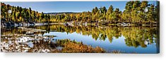 Acrylic Print featuring the photograph Autumn At Ivie Pond Panoramic by TL Mair