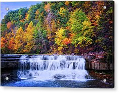 Acrylic Print featuring the photograph Autumn Beauty At Lower Taughannock Falls  by Lynn Bauer