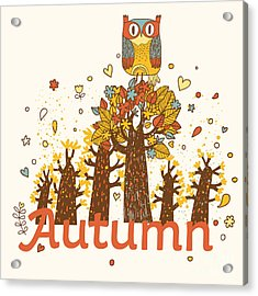 Autumn Childish Card In Vector. Cartoon Acrylic Print
