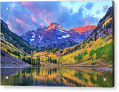 Autumn Colors At Maroon Bells And Lake Acrylic Print by Dszc