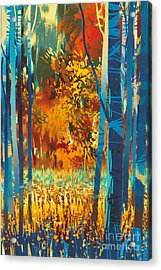 Autumn Forest With Blue Trees In The Acrylic Print