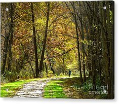Acrylic Print featuring the photograph Autumn Jogger by Donald C Morgan