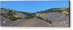 Acrylic Print featuring the photograph Autumn Moon Setting Panoramic View by James BO Insogna
