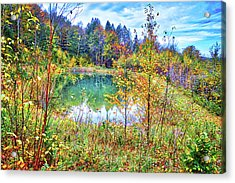 Acrylic Print featuring the photograph Autumn Reflections At The Pond by Lynn Bauer